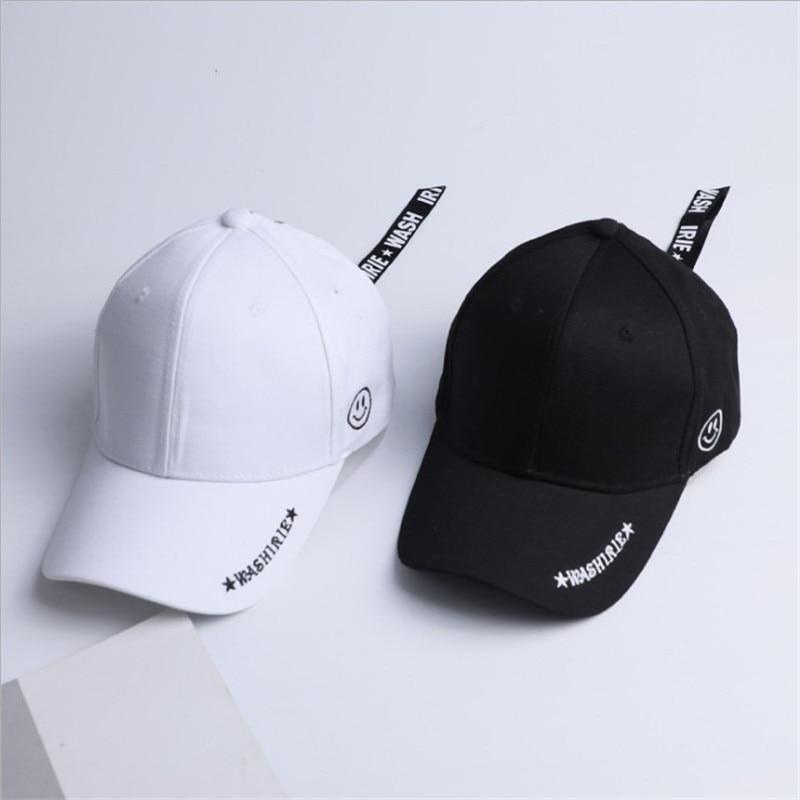 Korean Men Long Belt Baseball Cap Women Vintage Hip Hop Streetwear Smile Face Zipper Snapback Bone Casquette Brand Men Cap Hats
