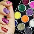 12 cajas de Uñas Láser Fluorescente de Acrílico Del Brillo de Lentejuelas Tips Manicura Nail Powder Sparkle Polvo Maquillaje Nail Art Kit Decoración