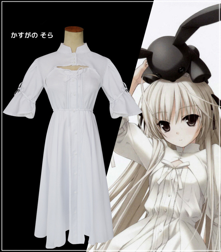 Cosplay Anime In solitude Kasugano Sora Dress Lolita Women Maid Dresses where we are least alone White Costume dress
