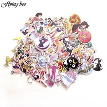 Flyingbee 56 Pcs Sailor Moon Anime Sticker Decals Scrapbooking Stickers for DIY Luggage Laptop Skateboard Car Stickers X0014 flyingbee 44 pcs creative cool sticker anime stickers for diy luggage laptop skateboard car motorcycle stickers x0004