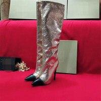 Эмма KING пикантные с брюликами расшитый блёстками острый носок выше колена сапоги лоскутное высокий тонкий каблук высокие Stage обувь для вече