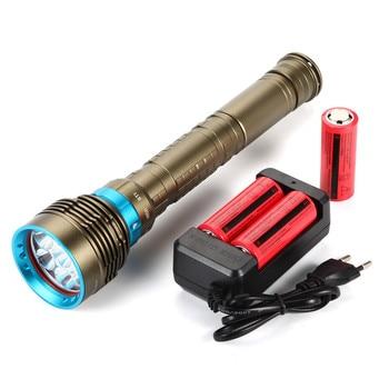 Super Brightness 7 x XM-L2 6000LM Diving Flashlight  Underwater Light  100M Waterproof + 3x26650 battery + charger