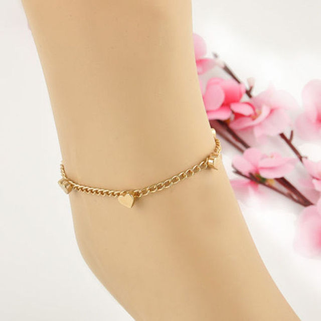 1PC Women Gold Foot Jewelry Chain Anklet Heart Love Design Bracelet