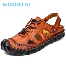 MIXIDELAI letnie oryginalne skórzane buty na zewnątrz drzwi męskie sandały ręcznie klasyczne dla mężczyzn miękki chód plaża Sandalias sandały slajdy tanie tanio CN (pochodzenie) Skóra Split Gladiator Moda RUBBER Slip-on Mieszkanie (≤1cm) Pasuje prawda na wymiar weź swój normalny rozmiar