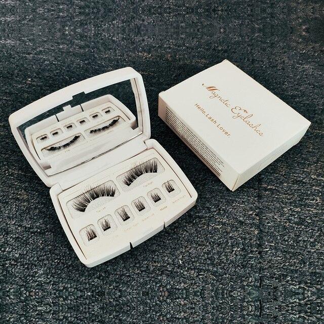 Genailish 8pcs 3D Magnetic Eyelashes Mink Lash Full Strip Lashes False Eyelash With Tweezers Double Magnet Fake Lash  SCT-W-602 3