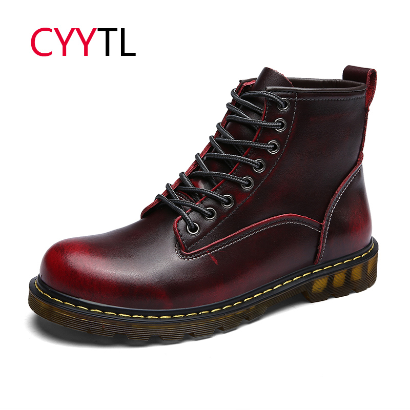 CYYTL Fashion Men Motocycle Boots Winter Leather Work Safety Shoes Erkek Bot Ankle Martin Outdoor Zapatos de Hombre Botas in Basic Boots from Shoes