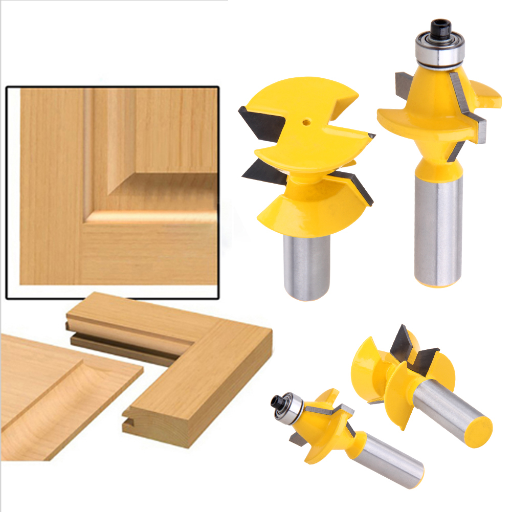 2Pcs 1/2 Shank Router Bit Set 120 Degree Woodworking Groove Chisel Cutter Tool Woodworking Milling Cutter 2pcs 1 2 shank router bit set 120degree woodworking groove chisel cutter tool g205m best quality
