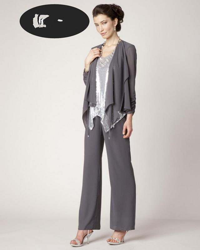 Grey Mother Of Bride Pant Suit Chiffon Open Long Sleeve Semi Formal