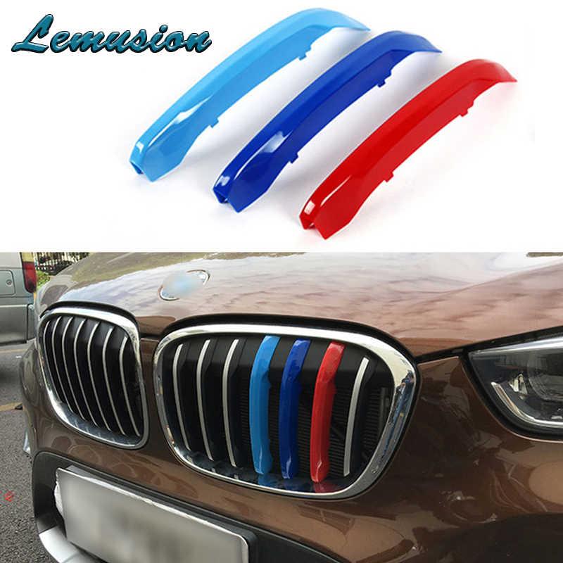 NOVO estilo de Carro Para BMW F34 F30 E46 E90 E92 E93 série 3 GT Poder M Acessórios 3 pcs 3D Frente Car grade da Grade Guarnição Tiras de Esporte Tampa