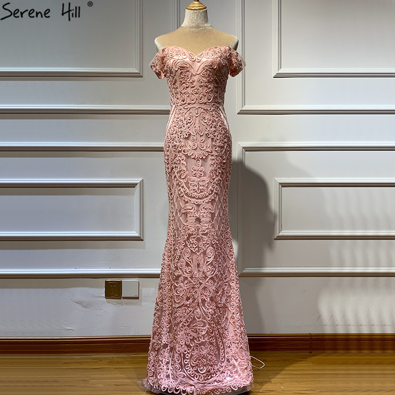 Real Photo Pink Sleeveless Pearls Diamond Evening Gowns 2019 Mermaid Off Shoulder Sexy Lace Evening Gowns LA60827