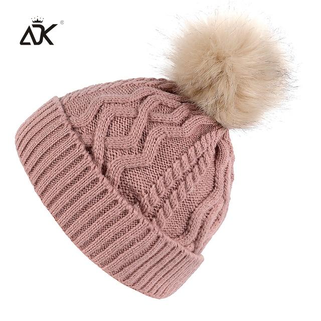 7f484c66852 Plain Knitted Hat For Girl Outdoor Warm Crochet Bonnet Winter Cap Women s  Fashion Pompom Hat Female Skullies Beanies For Ladies
