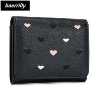 Designer Heart Cute genuine leather Small Wallet Women Lady Mini Clutch Coin Purse Card Holder Pocket Girl Short Wallets Zipper