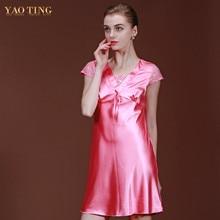 2017 Women Short Sleeve Pink font b Nightgown b font V neck Nightdress Imitation Silk Mini