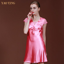 2017 Women Short Sleeve Pink Nightgown V-neck Nightdress Imitation Silk Mini Dress Silky Slim Homewear Sleepshirt Lace Sleepwear
