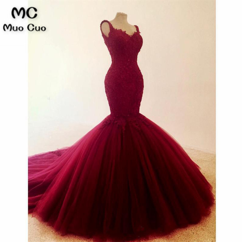 2018 Elegant Burgundy Mermaid   Evening     Dresses   Long Appliques Spaghetti Straps Prom Gown Tulle Formal   Evening   Party   Dress