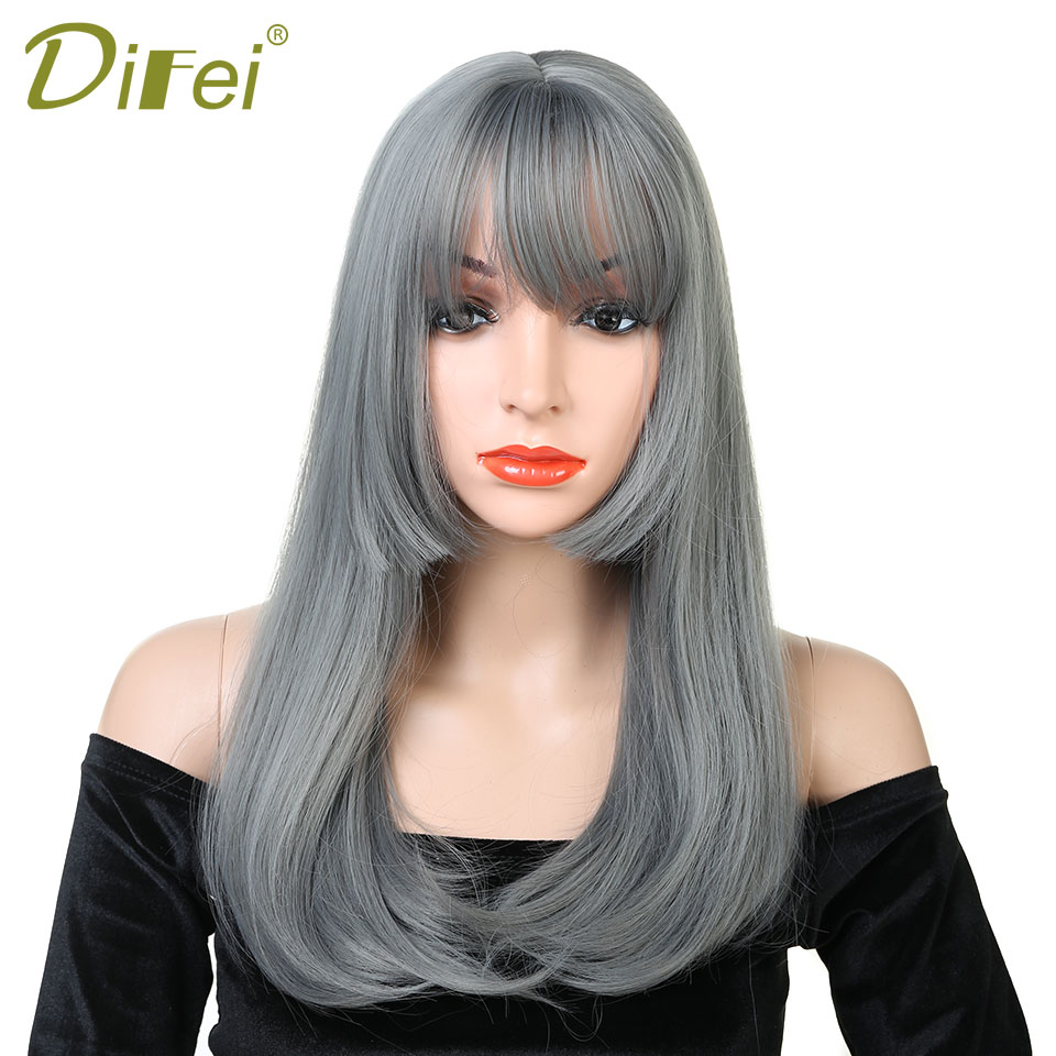 DIFEI Hair Womens Fluffy Natural Long Straight Bob Gray Hair Wig Heat Resistant Synthetic Hair Wigs with Bangs