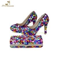 2018 Mix ручной кристалл Золушка обувь для выпускного бала с кошелек индивидуальный заказ со стразами Свадебные туфли лодочки для невесты с по