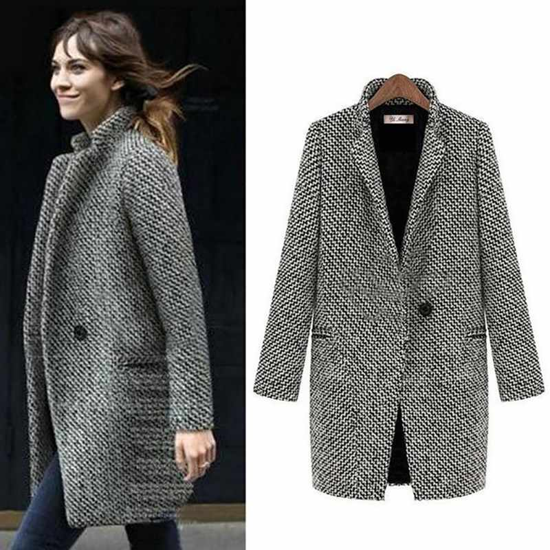 Women Fashion Long Woolen Coat Female Plus Size Winter Plaid Jacket Wool Blend Cape Coat Tweed Outwear