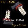 Envío gratis 2 X 18 SMD LED 5050 H11 Socket luces de niebla del coche de conducción bombilla para Ford Toyota blanco del xenón 12 V