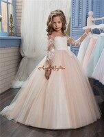 2017ใหม่ดอกไม้สาวชุดสำหรับงานแต่งงานอัญมณีคอลูกไม้A Ppliquesกวาดรถไฟบอลชุดวันเกิดเด็กสาวประกวด...