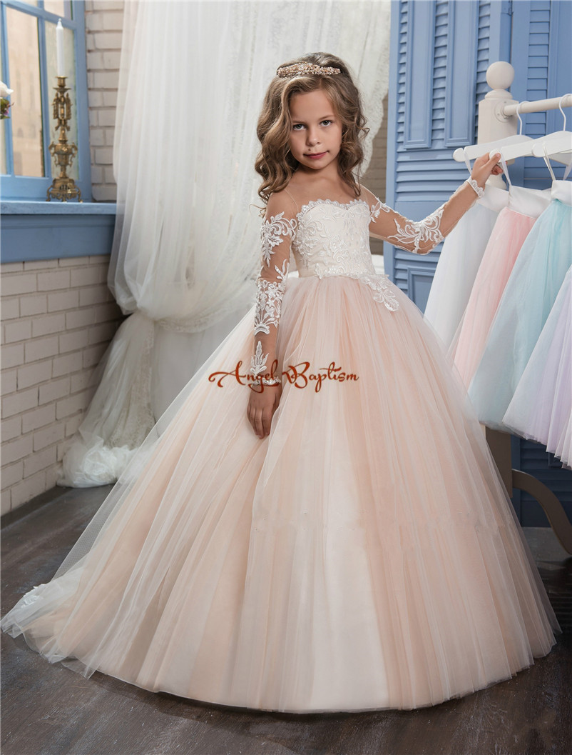 2018 New Flower Girls Dresses For Weddings Jewel Neck Lace Appliques Sweep Train Ball Gown Birthday Children Girl Pageant Gowns цена