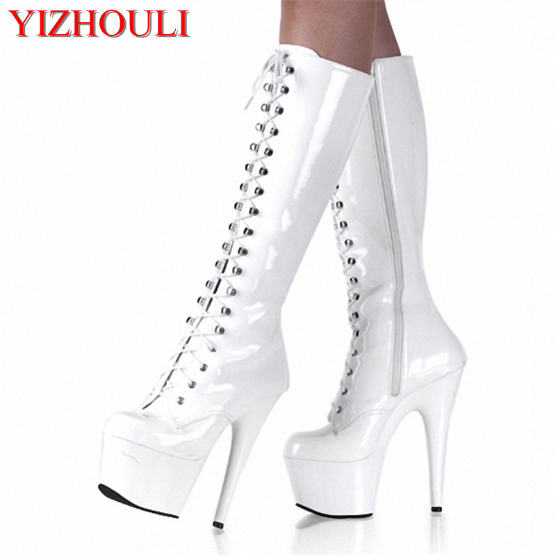 sexy clubbing pole dancing Knee High Boots 6 inch high heel shoes winter fashion sexy warm