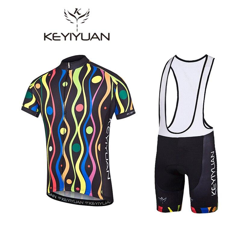 KEYIYUAN Cool color bar Cycling Clothing Bike Jersey Clothing Mens Bi Cycling Jersey Short Sleeve Pro Cycling Jerseys Short Set