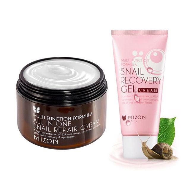 MIZON All In One Snail Cream 120ml (Super Size )+ Snail Gel Cream 45ml Facial Cream Face Skin Care Set Korean Cosmetics