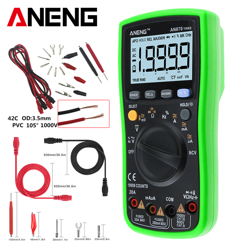 AN870 True RMS Auto Range Digital Multimeter 19999 COUNTS NCV Ohmmeter AC DC Professional Voltage Ammeter