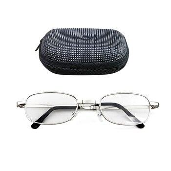 e57ba61f3c Portátil plegable gafas de lectura Oval marco de Metal de presbicia lupa  gafas con el caso
