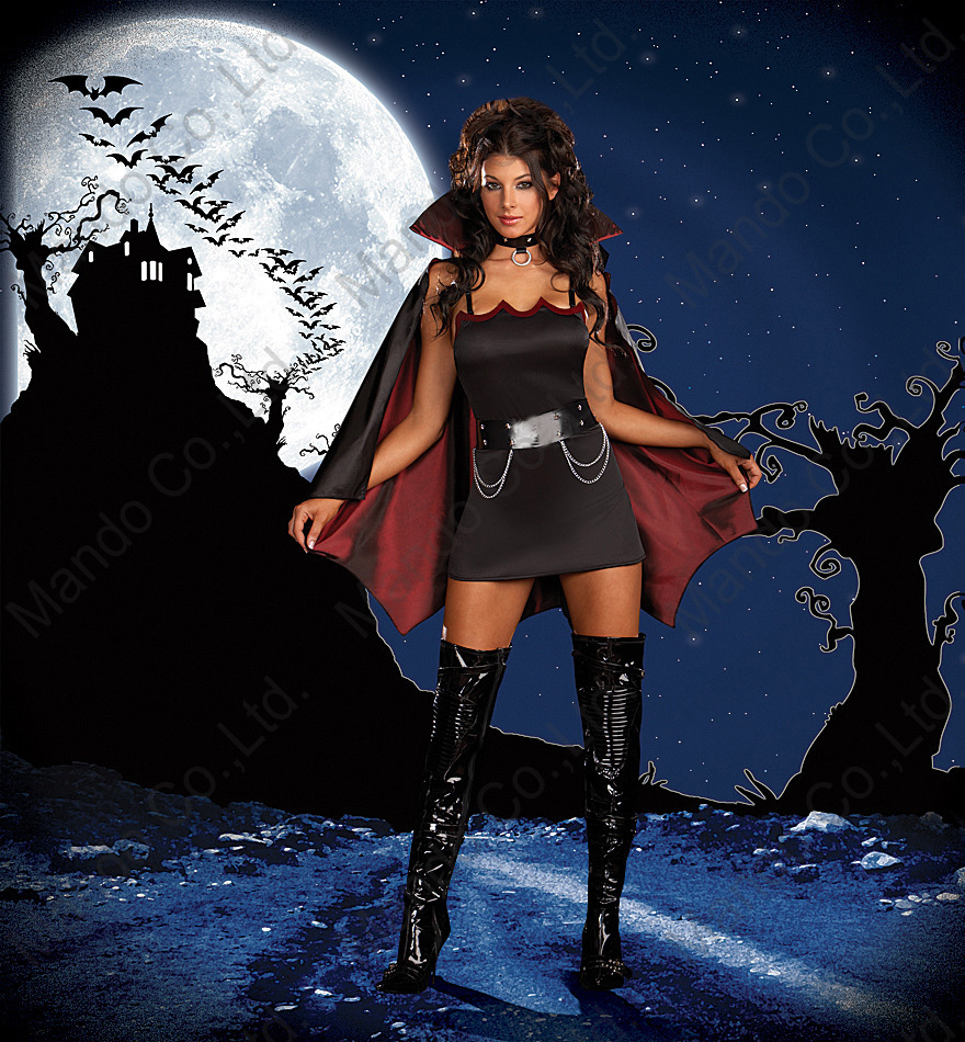 Womens Castle vampire bat Cosplay Costumes Ladies Halloween Outfit Fancy Dress  Adult Girls Carnival party costume dresses