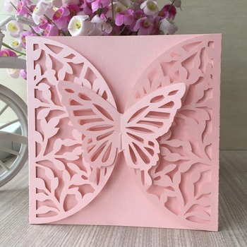 35pcs New Arrived Laser Cut Pearl Paper Hollow Wedding Invitations Engagement Wedding Invitation Card with 3D butterfly