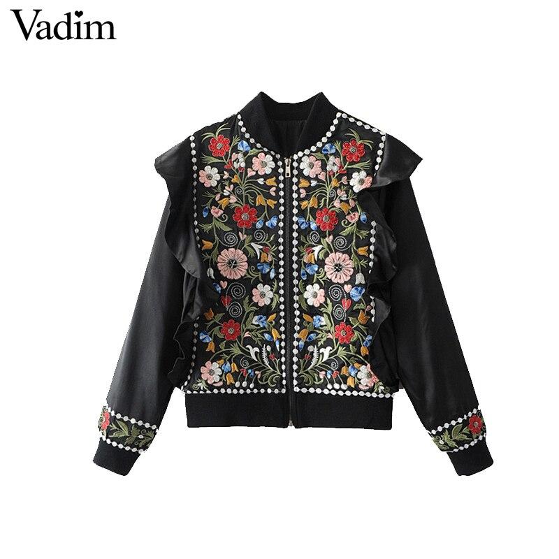 Vadim women vintage flower embroidery beading ruffles
