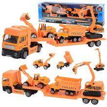 4 шт./компл. большой Размеры сплав вертолет инженерный автомобиль трактор игрушка самосвал Модель Классические игрушки Дети игрушка в подарок для детей
