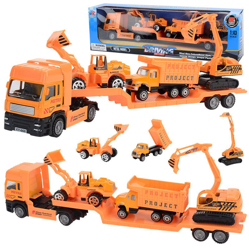 4Pcs/Set Big Size Alloy Helicopter Aircraft Engineering Car Tractor Toy Dump Truck Model Classic Toy Kids Gift Toy For Children 127127 new children s toy aircraft supersize inertia simulation aircraft helicopter boy baby music toy car model