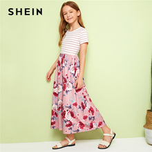 SHEIN Kiddie Girls Ribbed Knit Striped Bodice Floral Print Casual Dress 2019 Summer Short Sleeve Cute Flared Dresses For Kids недорого