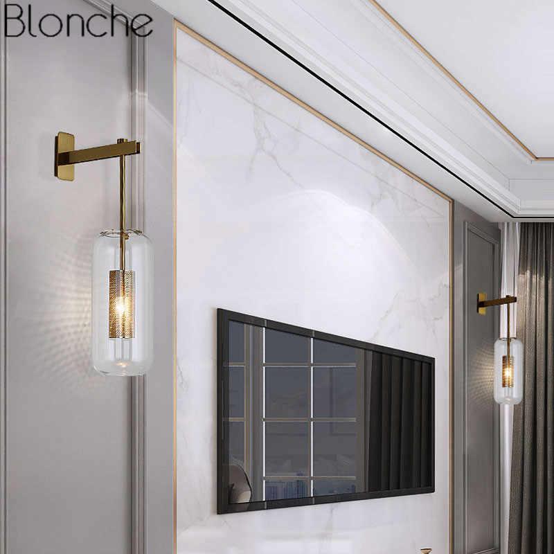 Post-moderne Glas Wand Lichter Lampe Nordic Led Wand Leuchte für Bad Schlafzimmer Home Leuchten Küche Lampe Leuchte e14