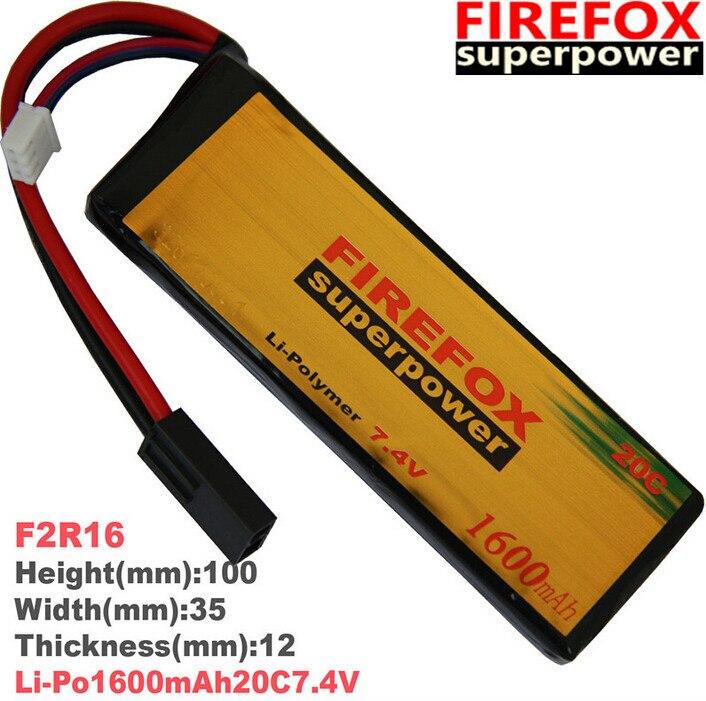 1pcs 100% Orginal FireFox 7.4V 1600mAh 20C Li Po AEG Airsoft Battery F2R16 Drop shipping аккумулятор li po 11 1 вольт firefox в туле