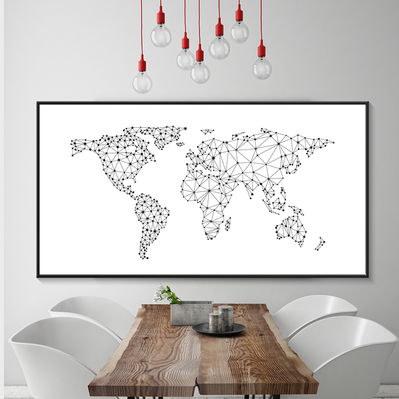 Modern Minimalistic Black And White Lines Geometric Map Canvas Painting Print Poster Picture Art Wall Home Decoration BW045 in Painting Calligraphy from Home Garden