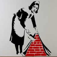 Banksy empregada imagem em quadrinhos adesivo de parede decoração para casa vinil papel de parede adesivos de parede decoração da sua casa