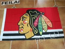 Nhl Chicago Blackhawks bandeira 3 X 5 FT 150 X 90 CM bandeira bandeira de100D 1103