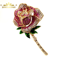 Victorian Style Full Pave CZ Naturalism Bloomed Red Peony Brooches Gold Tone Enamel Leaf Baguette Cut Stem Rose Pins Mother Gift