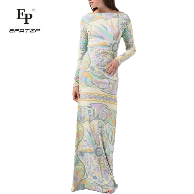 New Fahion 2018 Designer Luxury Maxi Dress Women s Long sleeve elegant Geometry Print XXL Stretch