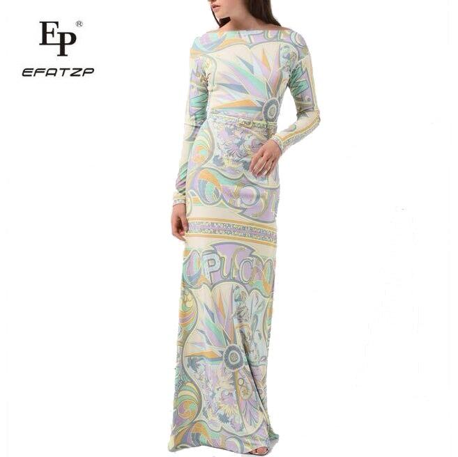New Fahion 2018 Designer Luxury Maxi Dress Women's Long sleeve elegant Geometry Print XXL Stretch Jersey Silk Spandex Long Dress-in Dresses from Women's Clothing    1