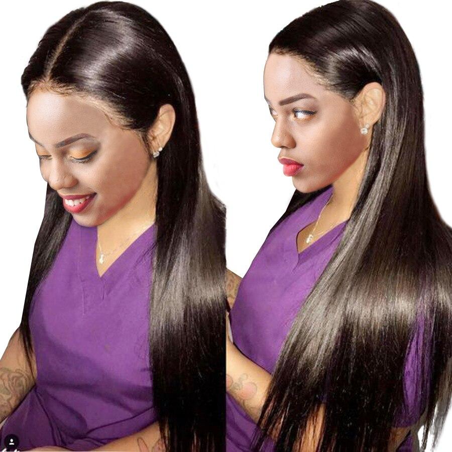 Perruque droite pleine dentelle cheveux humains perruques cheveux indiens pleine dentelle perruques cheveux humains avec bébé cheveux Remy longues perruques pour les femmes noires RUIYU