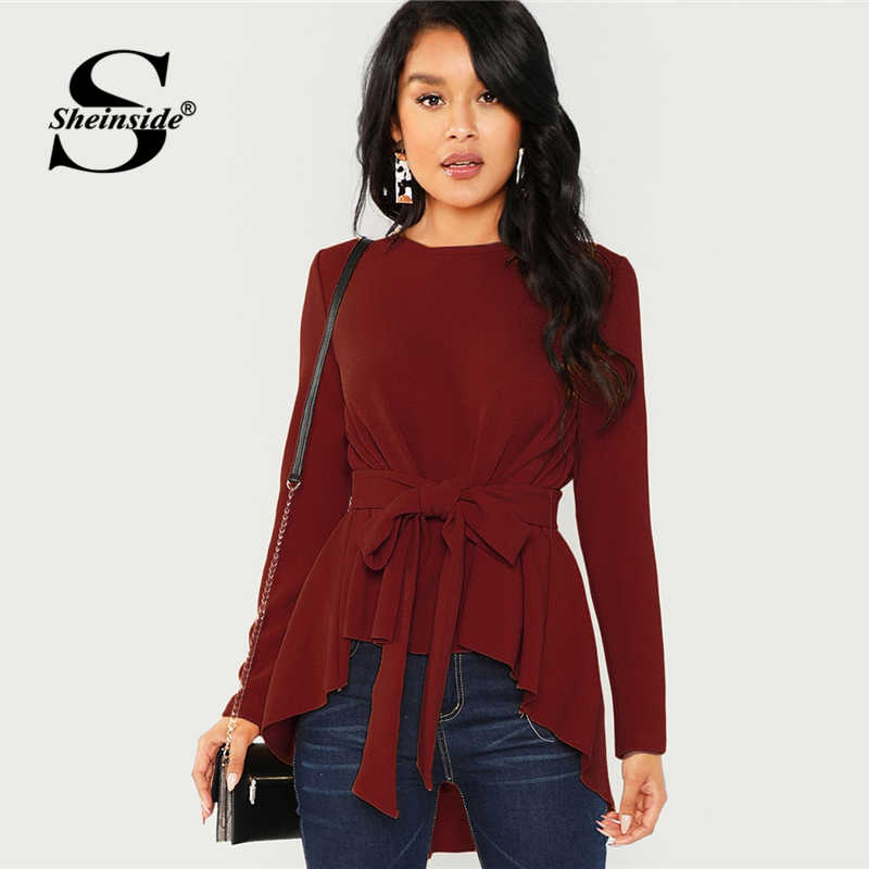c3c25b9e68c Sheinside Burgundy Long Sleeve Shirt Women Elegant Blouse 2018 Ladies Top  Self Belted Asymmetrical Hem Womens