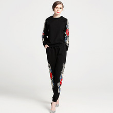 PADEGAO Fashion Leisure Casual Suits Women Spring New Tready Industries Embroidery Black Hooded Sweater+Straight Loose Pants Set