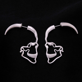 Gothic Punk Silver Color Hollow Out Skull Stud Earrings Zinc Alloy