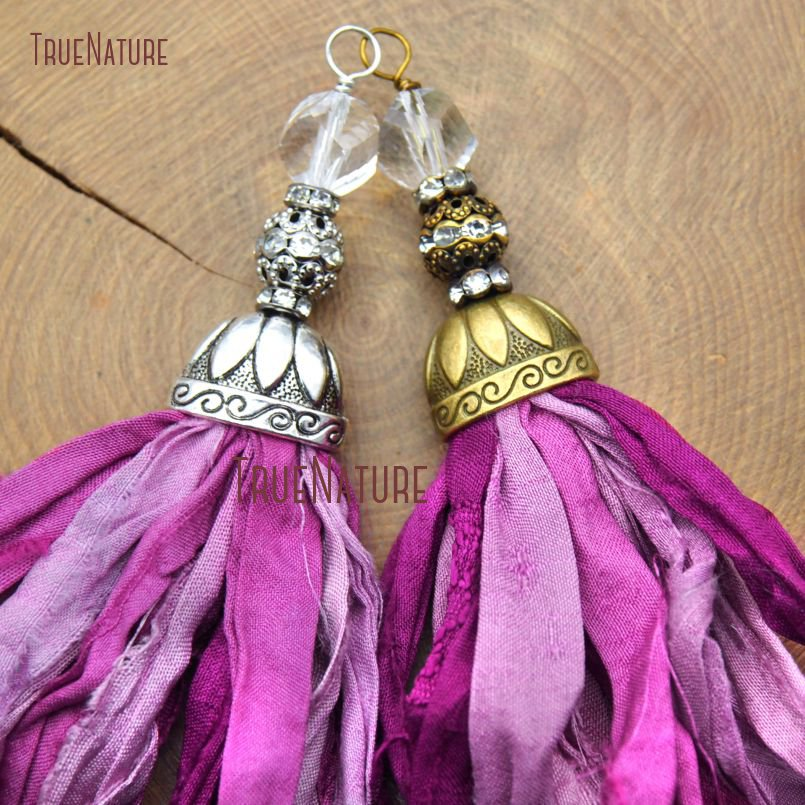 Fashionable Necklace Pendants Fushia Shades Colors <font><b>Sari</b></font> <font><b>Silk</b></font> <font><b>Tassel</b></font> Copper Caps Beads For Jewelry Making In 6.8 inch PM10539 image