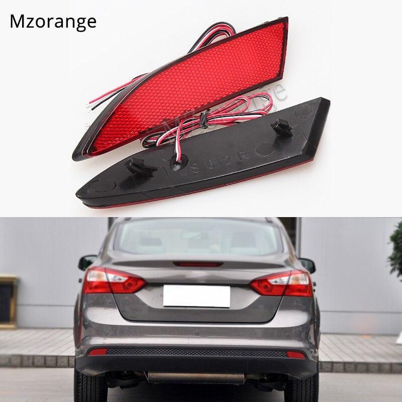 For Ford Focus 3 Sedan Hatchback Car Styling Brake LED Rear Bumper Reflector Light Warning font